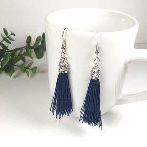 Royal Blue Tassel Drop Earrings